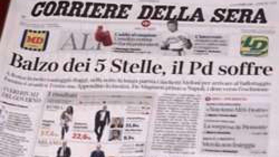 La prima pagina del Corriere della SeraIl voto italiano visto dalla stampa estera: nessuna sorpresa, ma c'è sfiducia verso Renzi