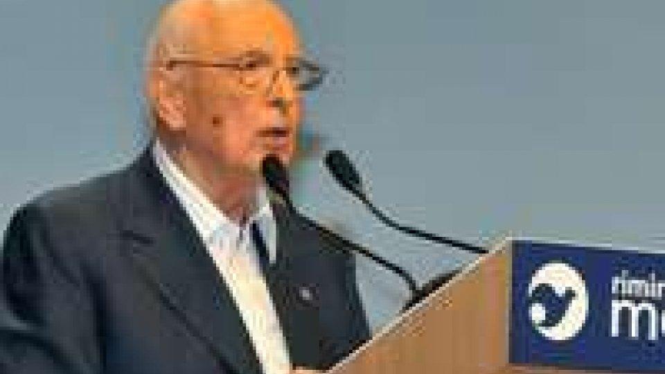 """Meeting, Napolitano sui conflitti internazionali: """"Serve UE coesa"""""""