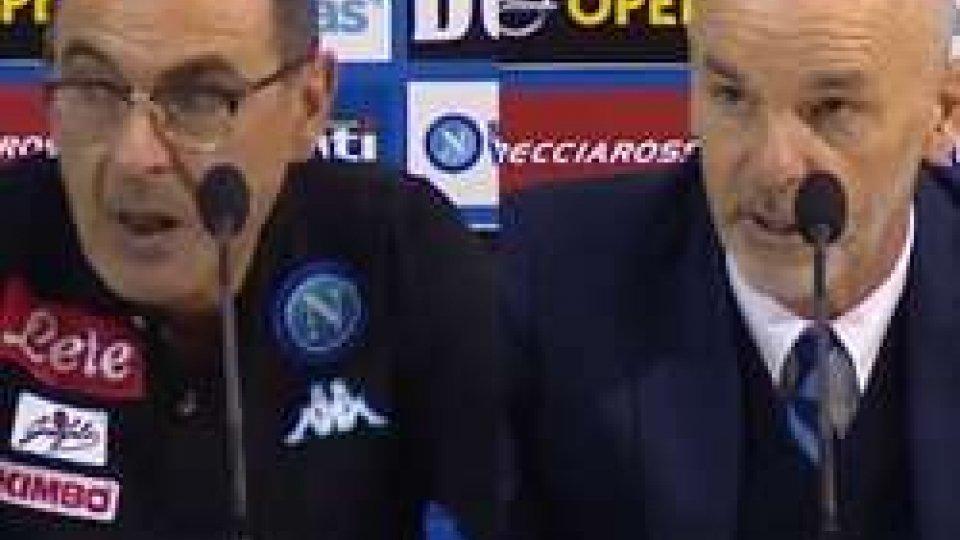 Maurizio Sarri e Stefano PioliNapoli - Inter 3-0 le interviste del dopo partita