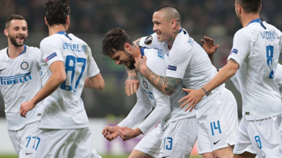 L'esultanza di RanocchiaEuropa League: Inter e Napoli sul velluto, sono agli ottavi. Le interviste agli allenatori