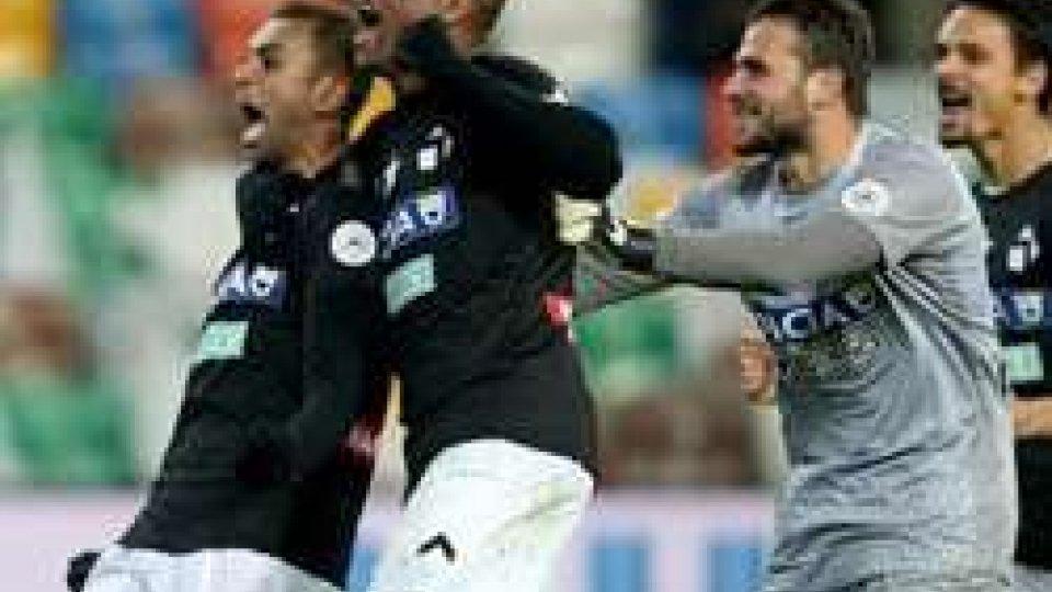 L'esultanza dell'Udinese (foto ANSA)