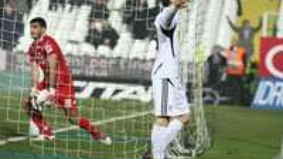 Davide Succi esulta dopo il gol del pareggioCesena - Spezia 1-1