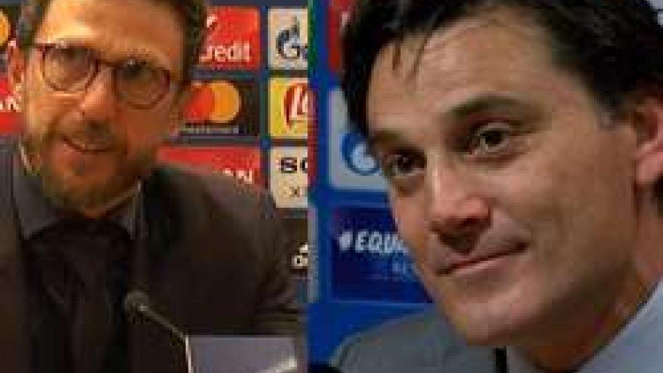Di Francesco e MontellaChampions League: la gioia di Di Francesco e Montella
