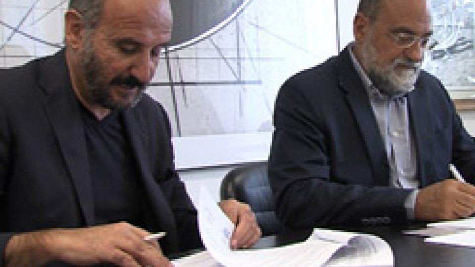 Luca Pavarotti e Carlo RomeoSan Marino Rtv e Corriere Romagna diventano partner commerciali
