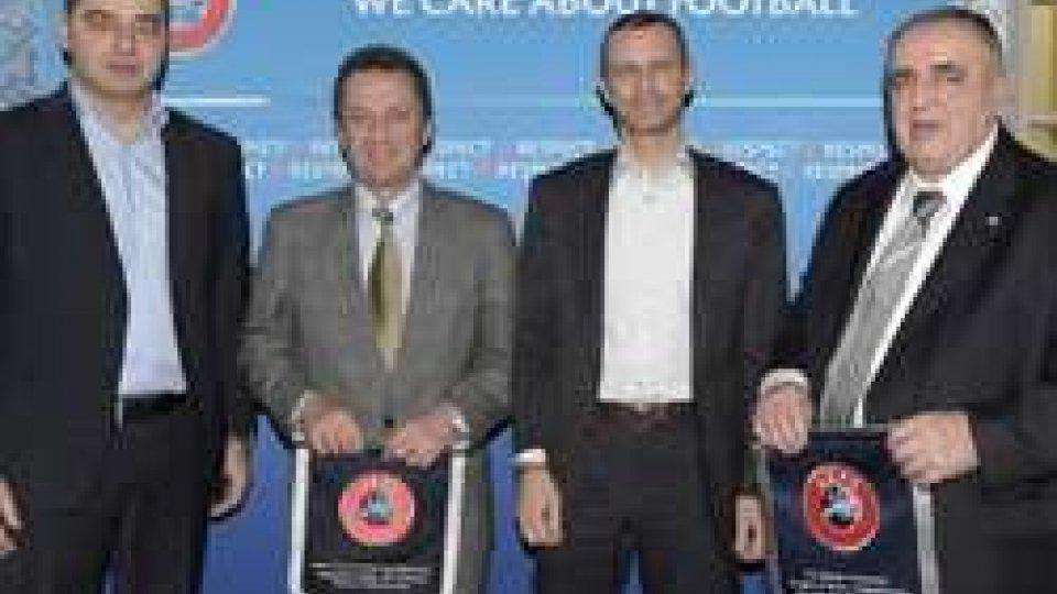 Il Presidente UEFA ?eferin omaggia Tura e Crescentini in udienza