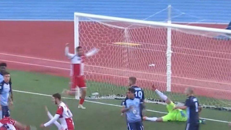 Il terzo gol del riminiBatticuore Rimini, AlbinoLeffe ko allo scadere: 3-2