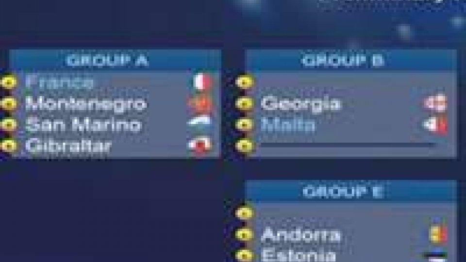 Europeo di Fustal: San Marino con Francia, Montenegro e Gibilterra. La vincente nel gruppo dell'ItaliaEuropeo di Fustal: San Marino con Francia, Montenegro e Gibilterra