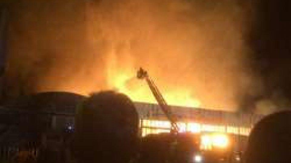 Incendio a Budrio (ph TR24.it)Incendio distrugge stabilimento imballaggi nel Cesenate: fiamme visibili nel riminese