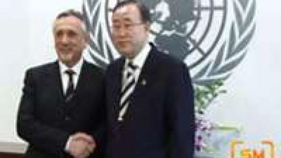 Attesa a San Marino per Ban Ki-Moon: manca il sì ufficiale, ma il Segretario ONU si dice ben disposto all'invito come oratoreOratore d'eccellenza
