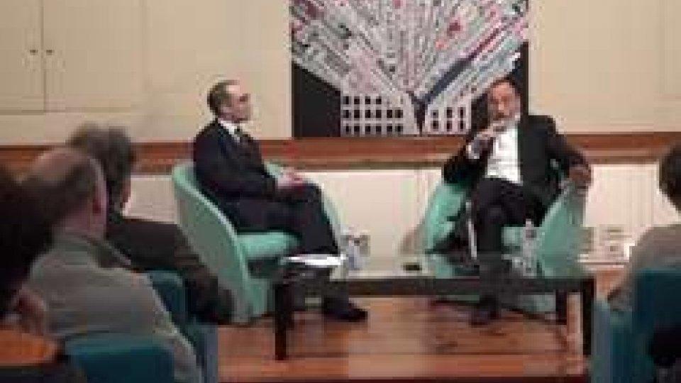 Nicola Renzi e Carlo RomeoIl segretario Nicola Renzi alla Stampa Estera di Roma per raccontare San Marino