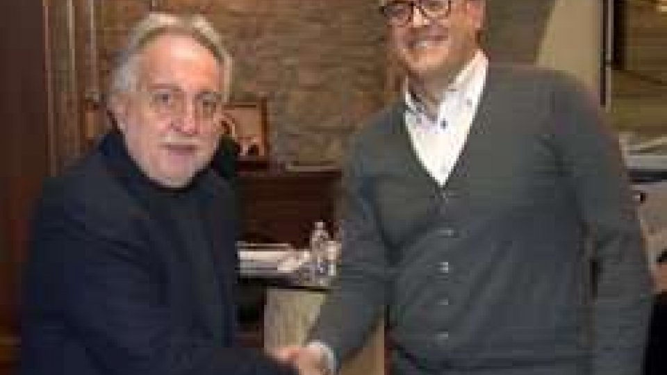 Corrado Petrocelli e Marco AmorinoUniversità San Marino: accordo tra design e Trony per un nuovo brand