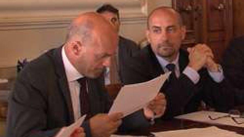 Andrea Gualtieri e Franco SantiSanità: bilaterale San Marino-Italia a palazzo Begni