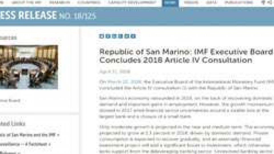 il sito FmiPubblicato rapporto FMI su San Marino