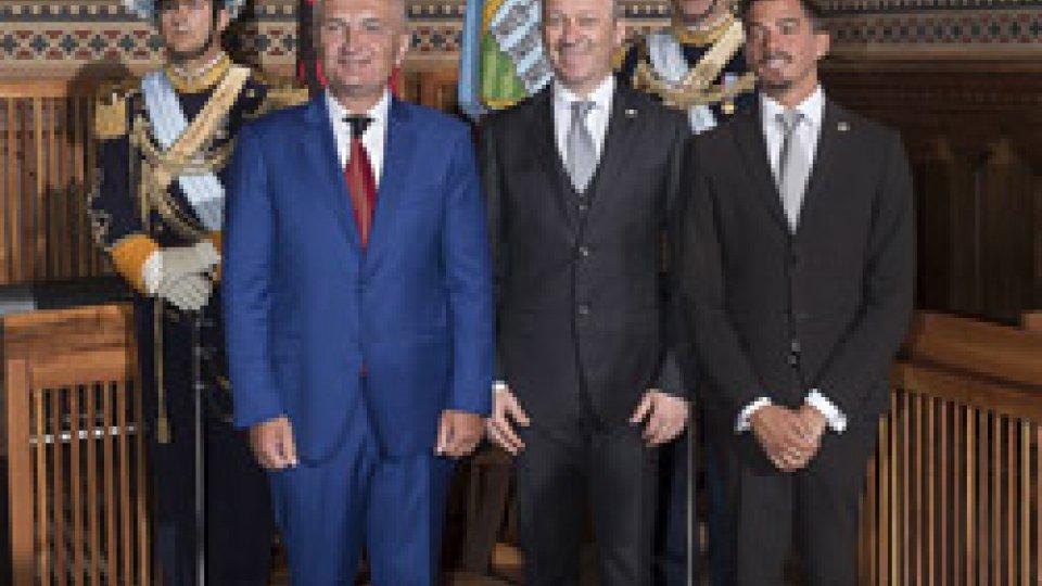 Il presidente albanesi e i Capitani reggentiVisita di Stato del Presidente Meta a San Marino