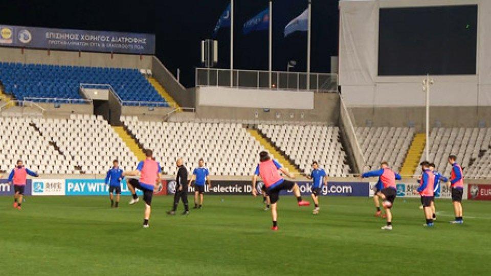 Gli allenamentiLa Nazionale Sammarinese si prepara alla sfida contro il Cipro