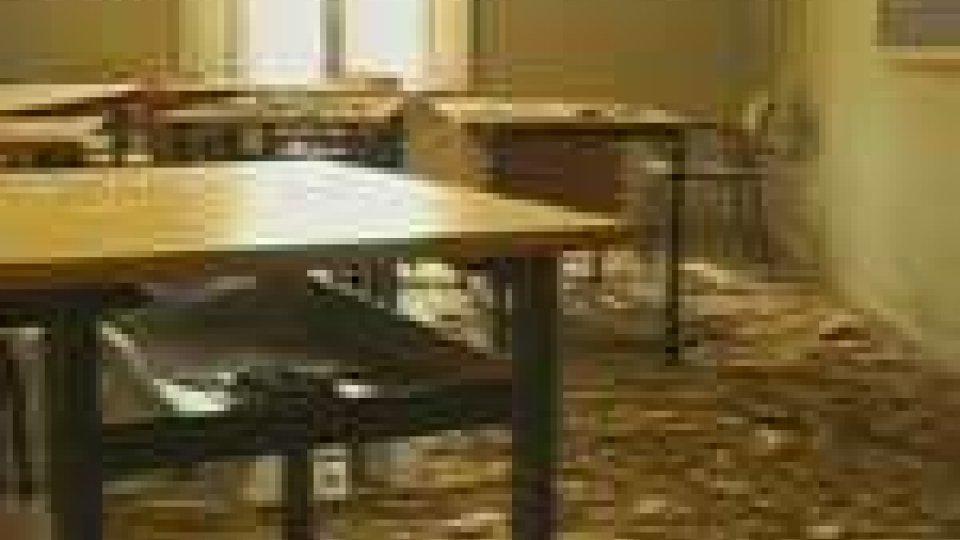 L'aula dove è avvenuto il crollo