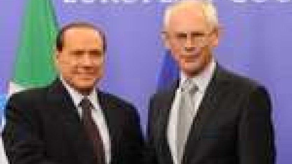 Incontro tra Herman Van Rompuy e Silvio Berlusconi a Bruxelles