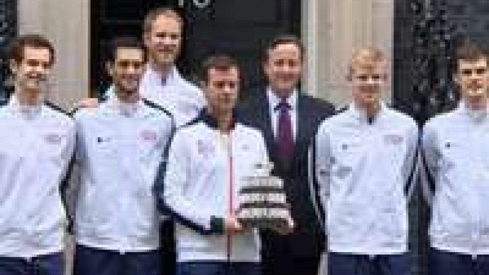 Coppa Davis, la trionfante squadra inglese ricevuta da David Cameron