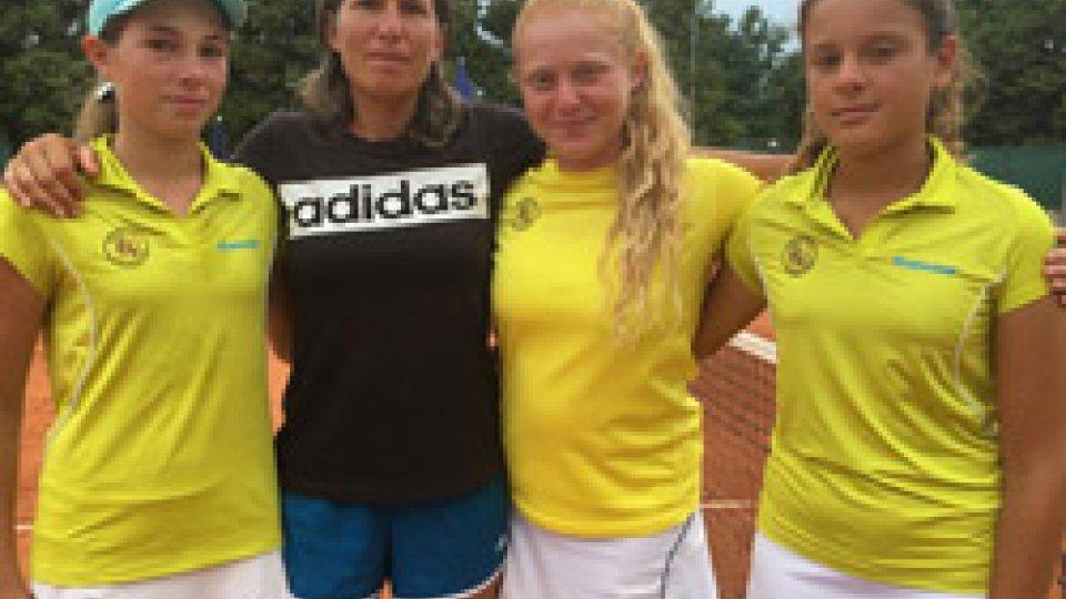 Le sammarinesi Giulia Dal Pozzo e Maria Prissilla Francioni e Giulia Corradini fanno volare il Tc Valmarecchia nella fase di macroarea nazionale Under 14 a Parma