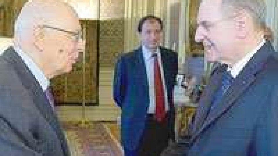 Il presidente del Cio Jacques Rogge ricevuto a Roma da Napolitano in occasione del premio Giulio Onesti