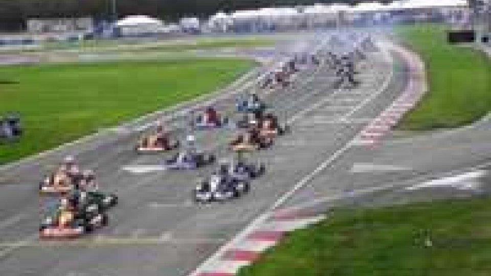 Il sammarinese Mirco Rossi al via del mondiale di kart rotax in Portogallo