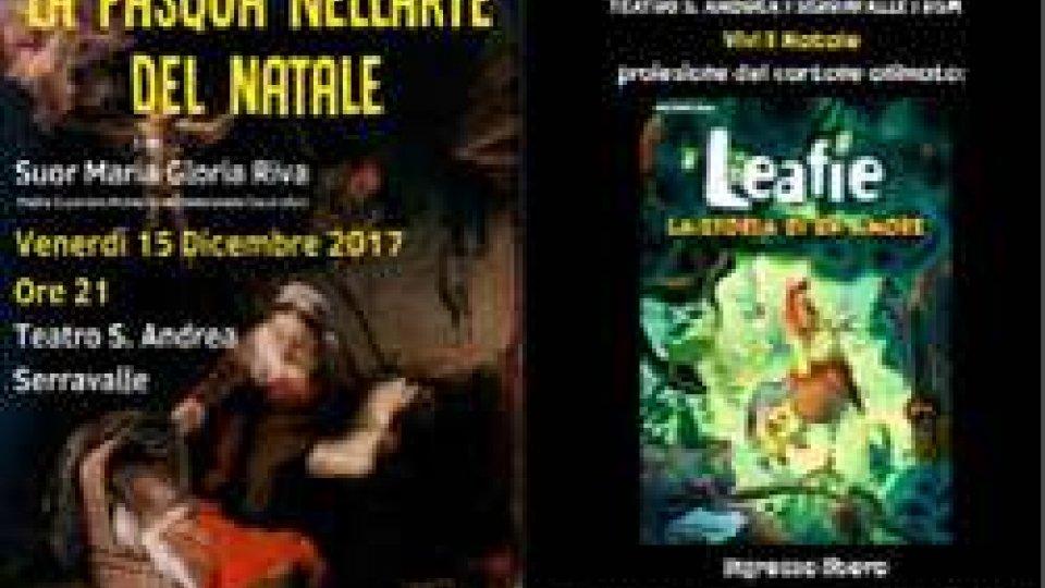 Due appuntamenti al teatro s. Andrea di Serravalle un incontro e un cartone animato