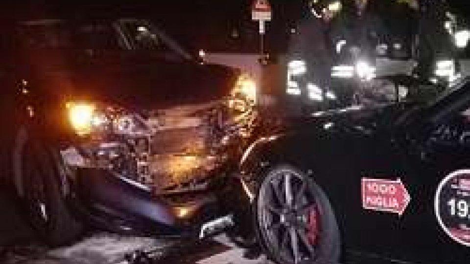 Le immagini dell'incidente di ieri seraRimini: nuovo incidente sulla Consolare, coinvolta una vettura della Mille miglia