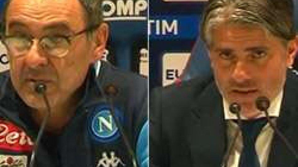 Maurizio Sarri e Diego LopezNapoli a valanga sul Cagliari, i commenti dei tecnici