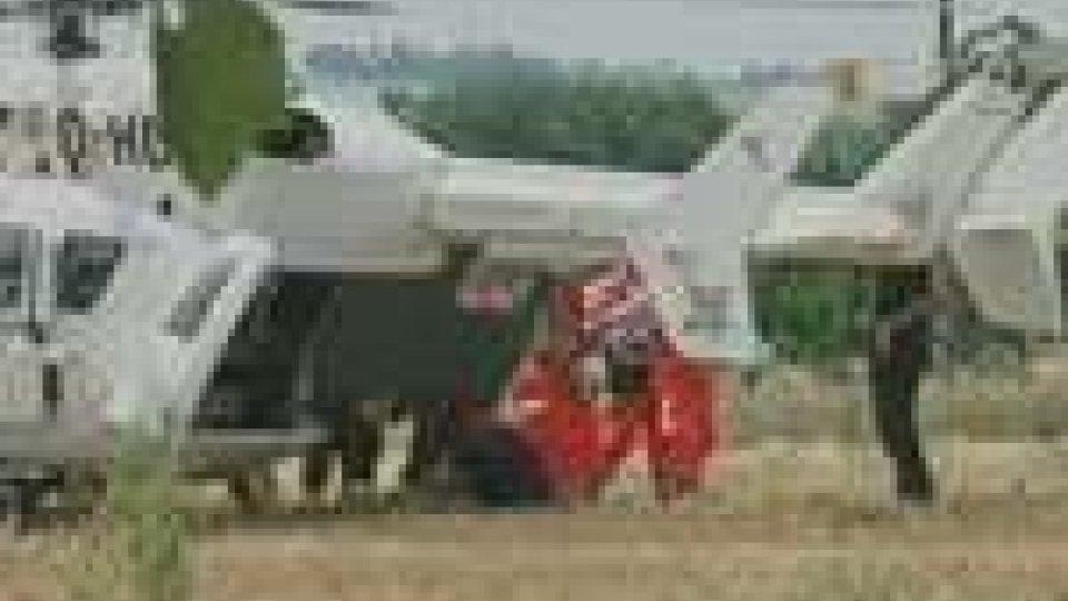 L'operaio trasportato in elisoccorso