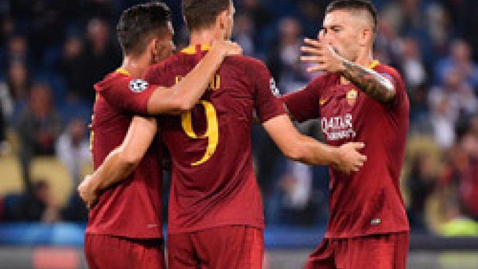 Dzeko, autore di una triplettaTriplette di Dybala e Dzeko, Juve e Roma passeggiano nella seconda di Champions