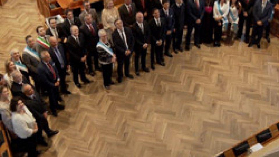 L'intera delegazione a Palazzo PubblicoSan Marino-Arbe: 50 anni di amicizia, delegazione croata in udienza dalla Reggenza