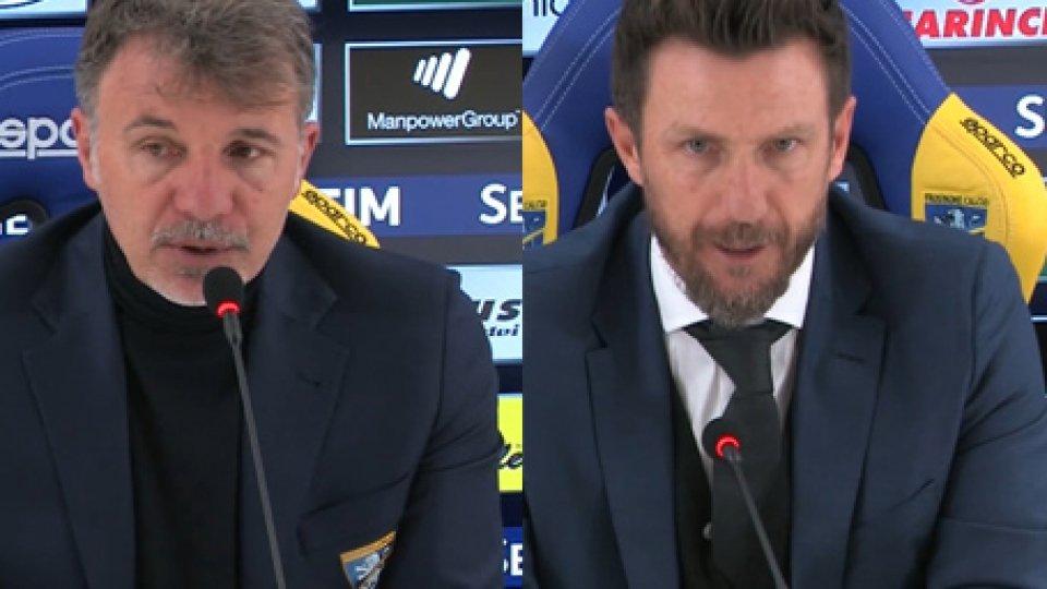 Baroni e Di FrancescoFrosinone - Roma 2-3, gli allenatori nel post partita