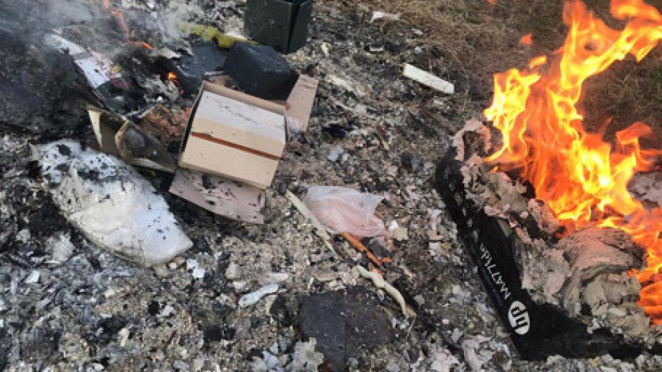 Alcune foto del rogoRimini: brucia rifiuti, denunciato dai Carabinieri della Forestale [GALLERIA]