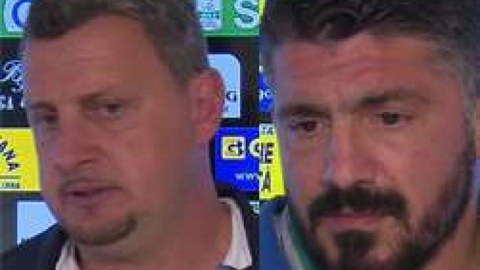 Andrea Camplone e Rino GattusoSerie B. Pisa-Cesena 0-1