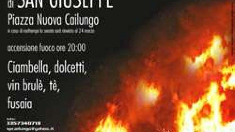 18 marzo Fuochi di San Giuseppe ore 20:00 piazza di Cailungo