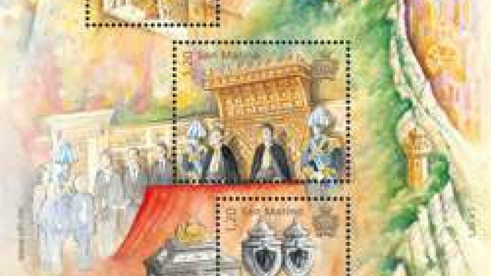 """Ufficio Filatelico: """"10° anniversario dell'inserimento nella lista del Patrimonio Mondiale UNESCO del Centro Storico e Monte Titano di San Marino"""""""