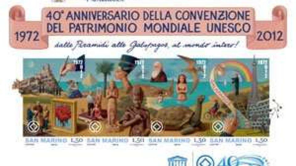 Emissione filatelica per il 40° Anniversario della Convenzione del Patrimonio Mondiale Unesco