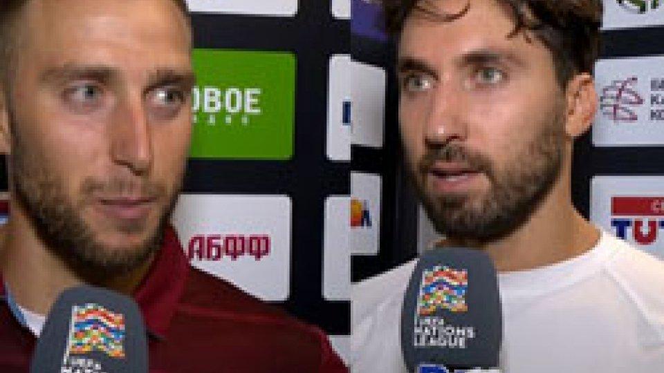 """Mattia Giardi - Mirko PalazziGiardi: """"Sono contento a metà, cinque gol pesano ma il debutto è stato emozionante"""". Palazzi: """"Loro più avanti nella condizione fisica, ora dobbiamo pensare al Lussemburgo"""""""