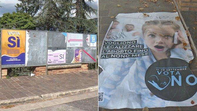 """Referendum aborto: nuovi danneggiamenti ai manifesti. Gruppo di insegnanti per il """"No"""", Comitato promotore risponde: """"Scuola è pubblica e laica"""""""