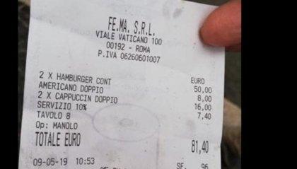 Due cappucci, due burger ed un caffè: 81,40 euro