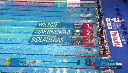 Nuoto: oro Martinenghi nei 100 rana. Bronzo per Condorelli nello stile libero