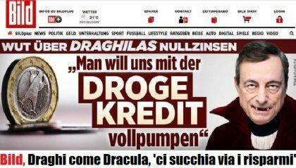 Copertina horror di 'Bild': Draghi come Dracula