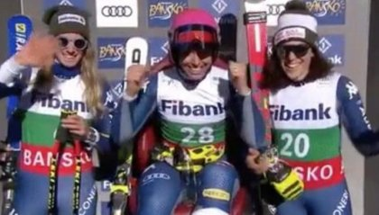Storico tris azzurro in discesa: sul podio Curtoni, Bassino e Brignone