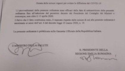 Coronavirus: nuova ordinanza della regione Emilia Romagna