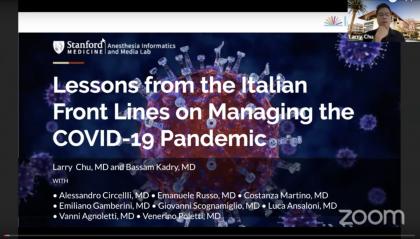 """""""Lessons from Italy""""  Una diretta mondiale webinar sul Coronavirus tra medici romagnoli ed esperti della Stanford University"""