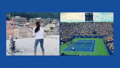 Tennis che passione: ragazze si giocano un match da un terrazzo all'altro