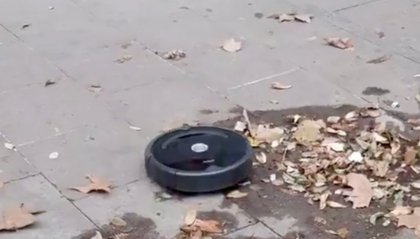 Robot aspirapolvere in fuga dal negozio
