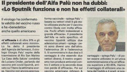"""Sputnik: presidente Aifa non ha dubbi, """"Funziona e senza effetti collaterali"""""""