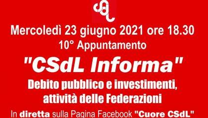 """Debito pubblico e investimenti, tra i temi del 10° appuntamento di """"CSdL Informa"""""""
