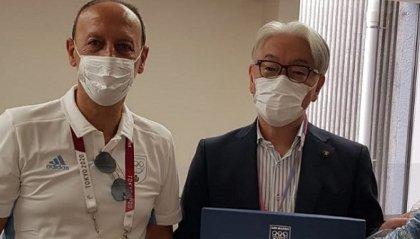 Il presidente Gian Primo Giardi in visita a Fujimi dove si allena Myles Amine Mularoni